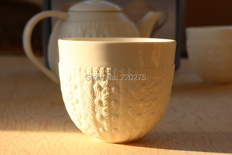 single walled porcelain mugs dressed lace knit structure Zakka Imitation sweater embossed ceramic double coffee cup Mugs(China (Mainland))