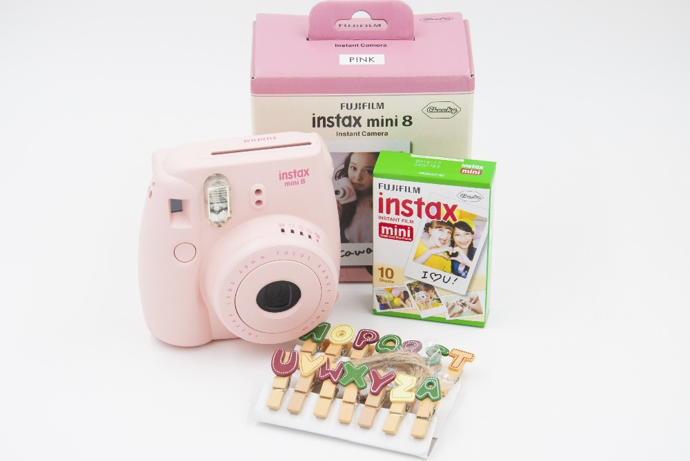 New Arrival Fuji Fujifilm Instax Instant Camera Mini 8 Pink with 10 Sheets Films Photos Pictures(China (Mainland))