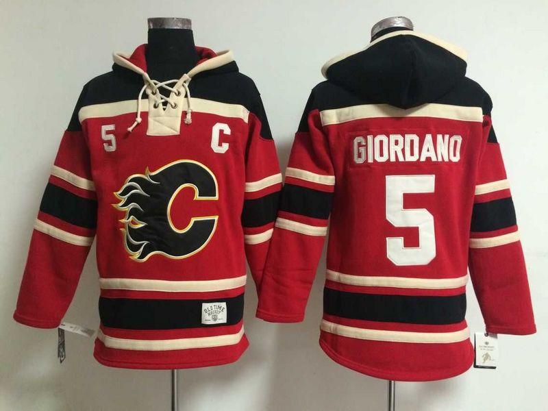 Mens Ice Hockey Hoodies Calgary Flames Jersey #5 Mark Giordano Red2177<br><br>Aliexpress
