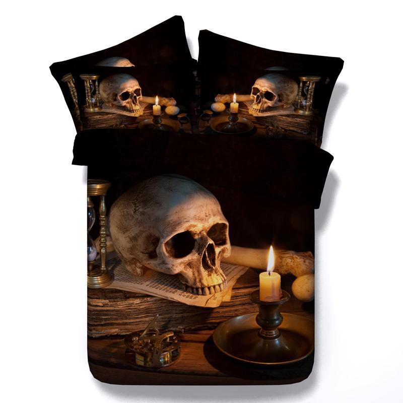 New Arrival!! Tencel sheets Cool Unique 3D skull and candle light bedding sets single bed super king size skeleton duvet cover(China (Mainland))