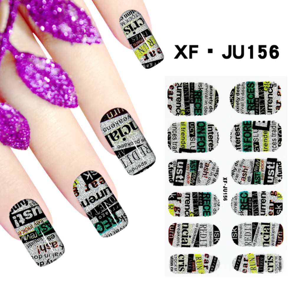 JU156 Free Shipping 3D Full Nail Strips Beautiful Nail Art Stickers With One Nail File Ju156 Buy One Get Two Total 3 Pack(China (Mainland))