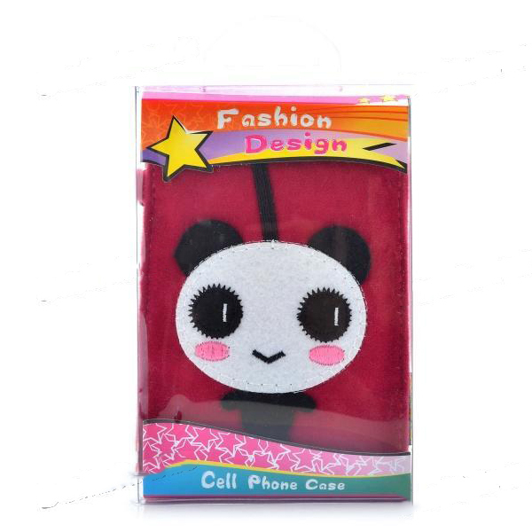 TopStock Universal Cute Panda Style Protective Plush Fabric Bag Pouch for Cell Phone - Deep for PINK(China (Mainland))
