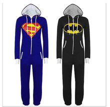 2016 Unisex Pyjamas Superhero Adult Onesies Mens Women Superman Cosplay Costume Batman Hooded Pajamas Sleepwear Onesies