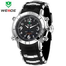 Moda WEIDE hombres reloj deportivo multifunción estudiante Casual Dress reloj militar LED Digital Alarm fecha día reloj de cuarzo