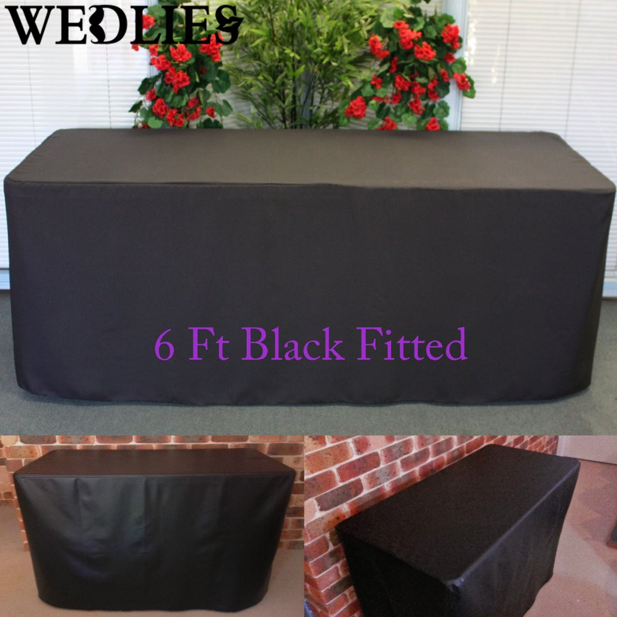 2Pcs/Set 6FT Fitted Black Trestle Table Cover Foldable Wedding Party Table Cloth Black Outdoor Furniture Cover 183X76X72cm(China (Mainland))