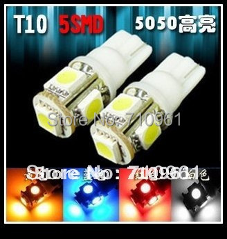 Free shipping wholesale T10 W5W 194 5 SMD LED Car Side Light Bulb Lamp LED Wedge Light Bulb White