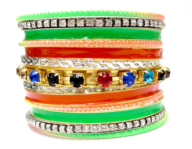 Multi Colored Pulseiras Women Fashion Bracelet Set with Rhinestone Wrapped Bangles. Neon Color Indian Bangle Set.(China (Mainland))