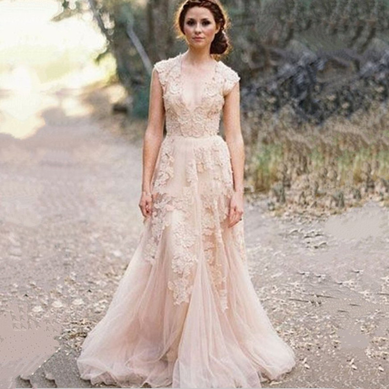 2015 hot sale vintage lace a line wedding dresses custom for Wedding dresses with sleeves for sale