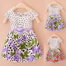 Mais novo bebê meninas miúdos vestido Polka Dots borboleta princesa vestido de uma peça