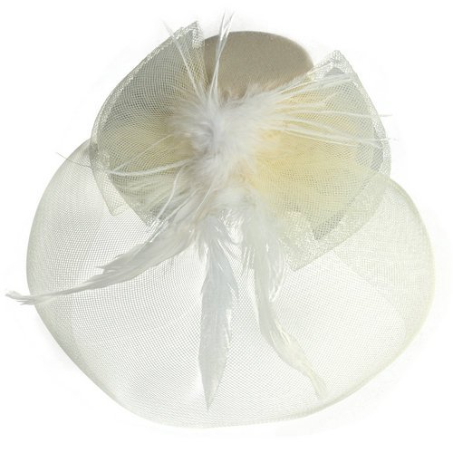 5 Pack HOT SALE!Cream Feather Mini Top Hat Organza Mesh Hair Clip Veil Fascinator(China (Mainland))