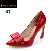 New 2015 Red Wedding Shoes Fashion Bowtie Women Pumps Sexy Pointed Toe High Heels Party Dress Shoes Woman Big size 34-42 L45(China (Mainland))