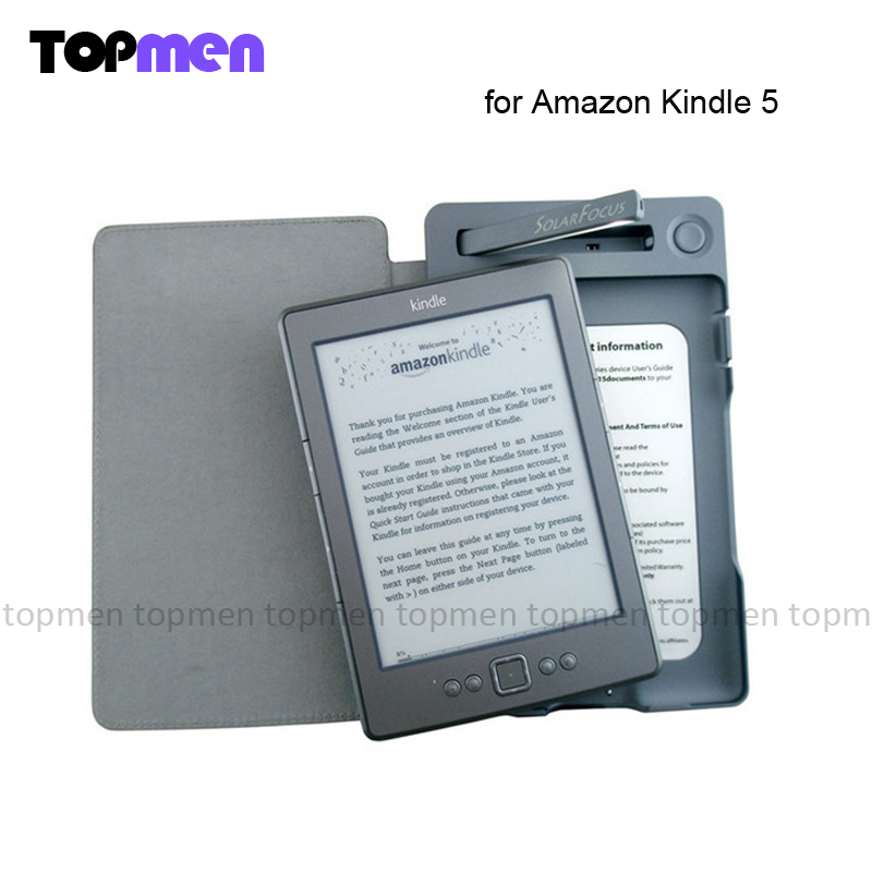 Fashion New Solar Lighted Cover for Kindle 5 By Solar Focus pu leather cover case with high quality and fast delivery(China (Mainland))