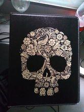 Stylish skull book case for Ipad air 1 auto wake up/sleep smart cover for Ipad5 PU leathre protector skin shell for Ipad A1474(China (Mainland))