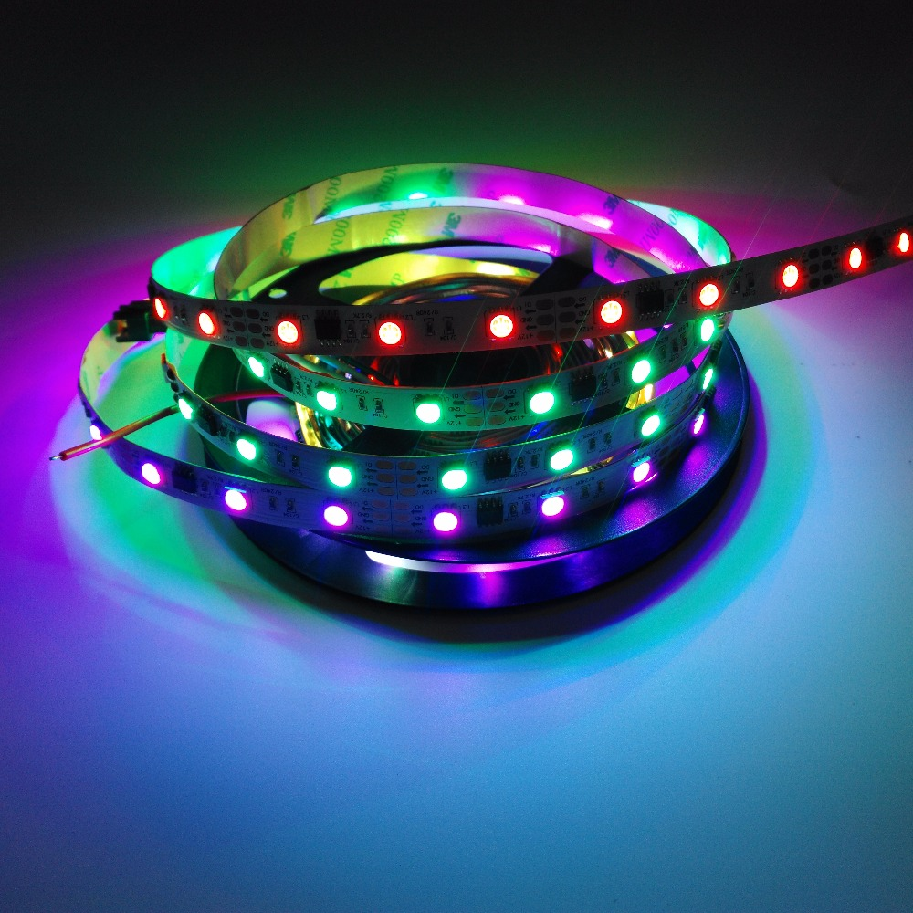 Гаджет  1M WS2811 12V Strip 48LEDs/m White&Black PCB Strip LED 5050 Non-Waterproof WS2811 IC Addressable LED Strip  None Свет и освещение