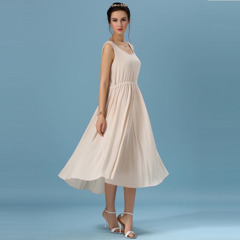 New Arrival Women's Spring and Summer Apricot Vintage Art National Wind Loose Thin Sleeveless Cotton Long Dress(China (Mainland))