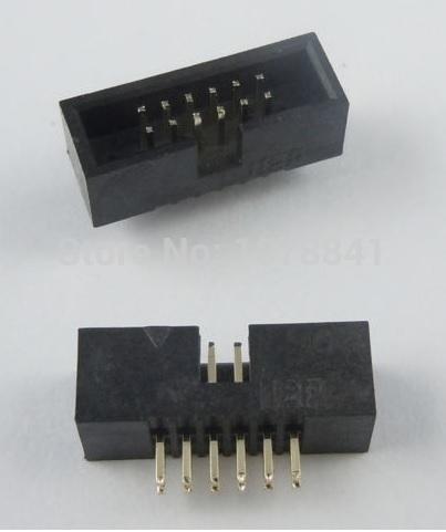 Здесь можно купить  100 Pcs Per Lot 1.27mm 2x6 Pin 12 Pin DIP Male Shrouded PCB Box Header IDC Connector  Электротехническое оборудование и материалы