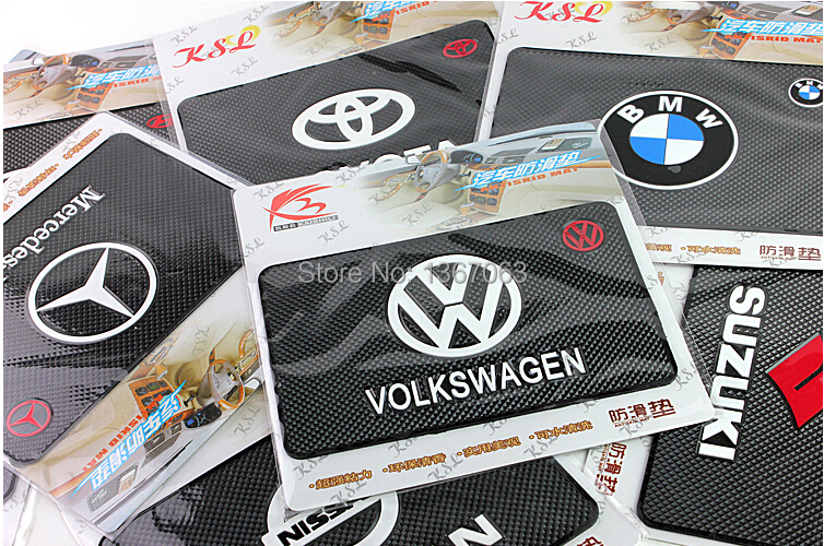 100pieces/lot Powerful car logo Magic Sticky Pad Anti Slip Non Slip Mat for Phone PDA mp3 mp4 Car Washable Durable Use(China (Mainland))