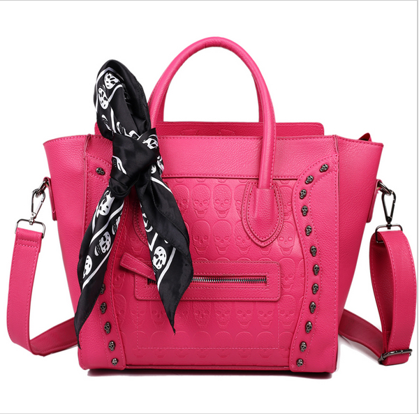 MISS LULU 2015 New fashion Women Ladies Celebrity High Quality Leather Smile Face SKull Scarf Handbag Shoulder Tote Hand Bag <br><br>Aliexpress