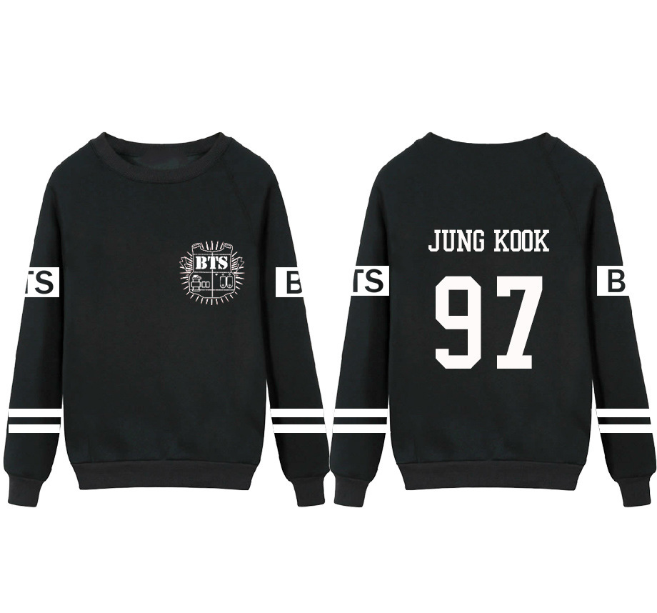 Kpop Bts Bangtan Boys Jung Kook V Suga Sweatshirt Suit Black Autumn Long Sleeve Hoody Outerwears Clothing Bts Fire(China (Mainland))