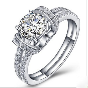 1Carat Super Star Love Best Certified Moissanite Female Marriage Ring Pure 18K White Gold Ring Fine Jewelry For Valentine(China (Mainland))