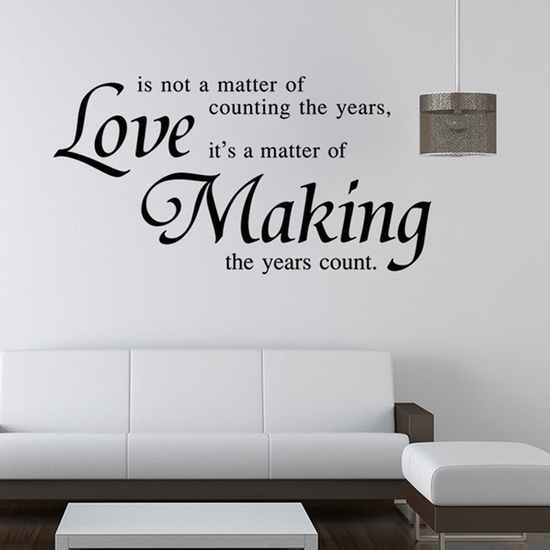 Quote Wall Decals For Living Room : Vinyl quote wall stickers home decor living room diy black