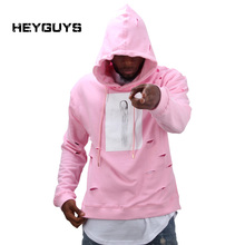 2016 hot mens hip hop pink hoodies sweat suit tracksuit men with the hole hoodies men fashion set winter male streetwear(China (Mainland))