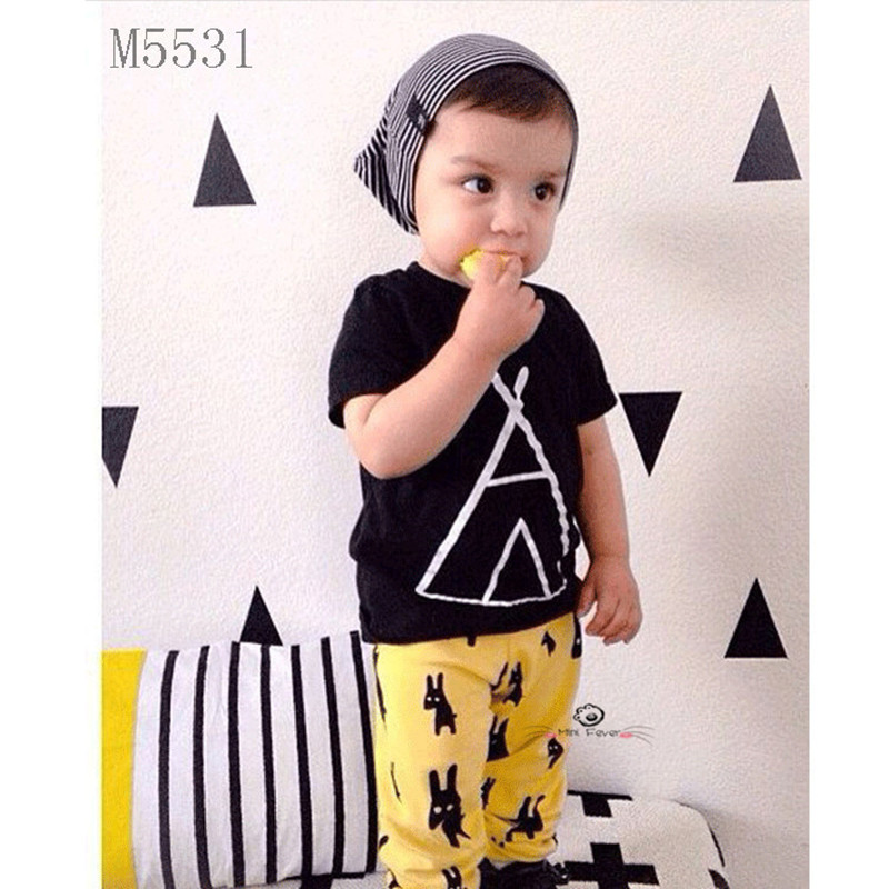 cotton 1T-5T Boy Sets 2016 summer Short sleeve letter Top + Yellow pants baby clothes Kids clothes sets T-shirt child Clothes(China (Mainland))