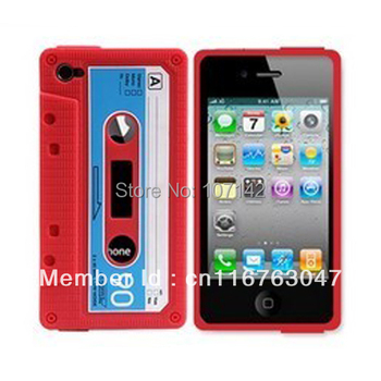 Retro Case for iphone 4S Case 4G Cover Cassette Design Tapes Case For iphone 4 Soft Silicon Material Colors No Smell Non-toxic