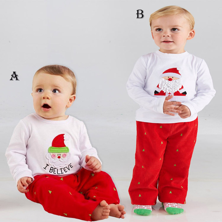 2015 santa christmas clothing set baby boys clothes baby