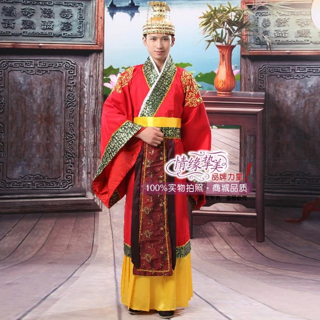 red Hot Folk Dance Chinese Man Han Clothing Emperor Prince Show Cosplay Suit Costume Minister traditional Ancient DressОдежда и ак�е��уары<br><br><br>Aliexpress