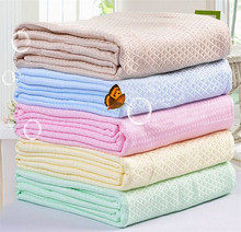 "New Arrival 100x150''"" Title(Waffle) Towel Blanket/Bamboo Toweling Coverlet +Pink Yellow Green Blue(China (Mainland))"