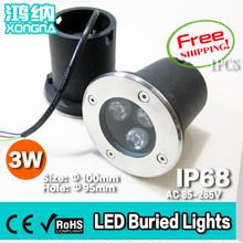 Livraison gratuite 1 pcs/lote AC110 / 220 V haute puissance 3 W LED lampe souterrain étanche IP68 extérieur LED lumières enterrées(China (Mainland))