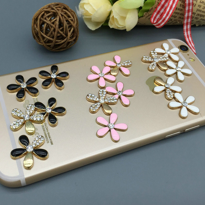 2 sets flat back alloy rhinestone flower set diy cell for 3d decoration for phone cases