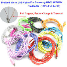 1M/2M/3M Braided Wire Micro USB Cable 3ft Sync Nylon Woven Charger Cords For Samsung Galaxy S3 S4 S6 for Blackberry for SONY(China (Mainland))