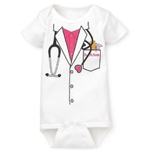 Short Sleeve baby boys bodysuits girls' Jumpsuits doctor(China (Mainland))