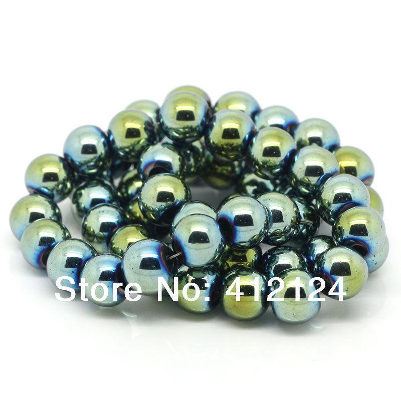 "1000Pcs Hot New DIY Hematite Loose Beads Round Ball Golden Bule 8mm Dia.( 3/8"") N313(China (Mainland))"