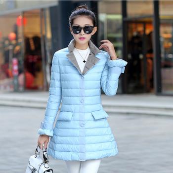 2015 новый женщины утка пуховик мода тонкий женский утка пуховик причинно дамы зимнее пальто парки верхняя одежда