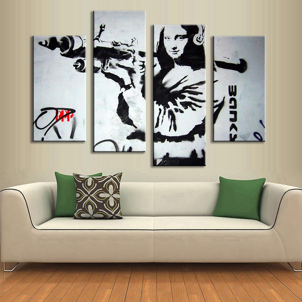 Unframed 4 Pcs Banksy Art Monalisa and RPG Modern Abstract Oil Painting Canvas Art Fashion Printed Picture Home Decor Artwork(China (Mainland))