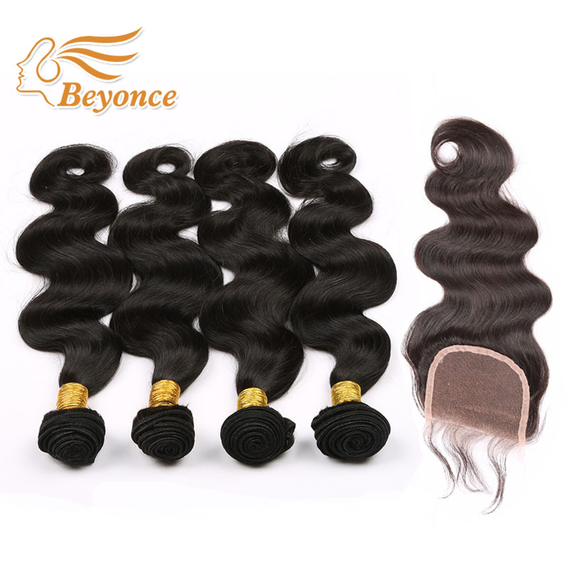 Pure Color Cheap Brazilian Virgin Hair With Closure 4 Bundles With Lace closure 7a Unprocessed Body Wave  DHL Free shipping<br><br>Aliexpress