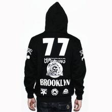 Thrasher font b Hoodies b font font b Men b font 77 Number Black Sweatshirts 2016