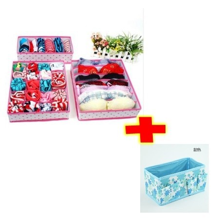 Home Folding Storage Boxes 1Set Non-woven Drawer Closet Underwear Bra Organizers+1 pcs Makeup Desktop Storage boxes(China (Mainland))