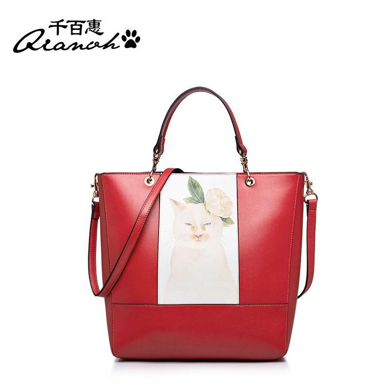 2016 New women pu leather bag brands quality women handbags shoulder messenger bag fashion printing Kitty bag(China (Mainland))