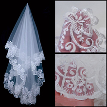 Lady Wedding Mantilla Cathedral Bridal Veil Embroidered Lace Edge Long Train Free Drop Shipping hot sale(China (Mainland))