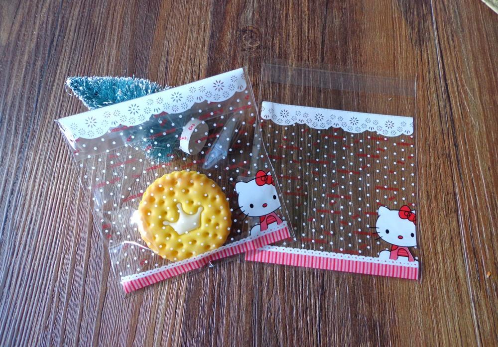 300pcs 10x10+3cm Hello Kitty Transparent Cookies Bags Self-adhesive ...