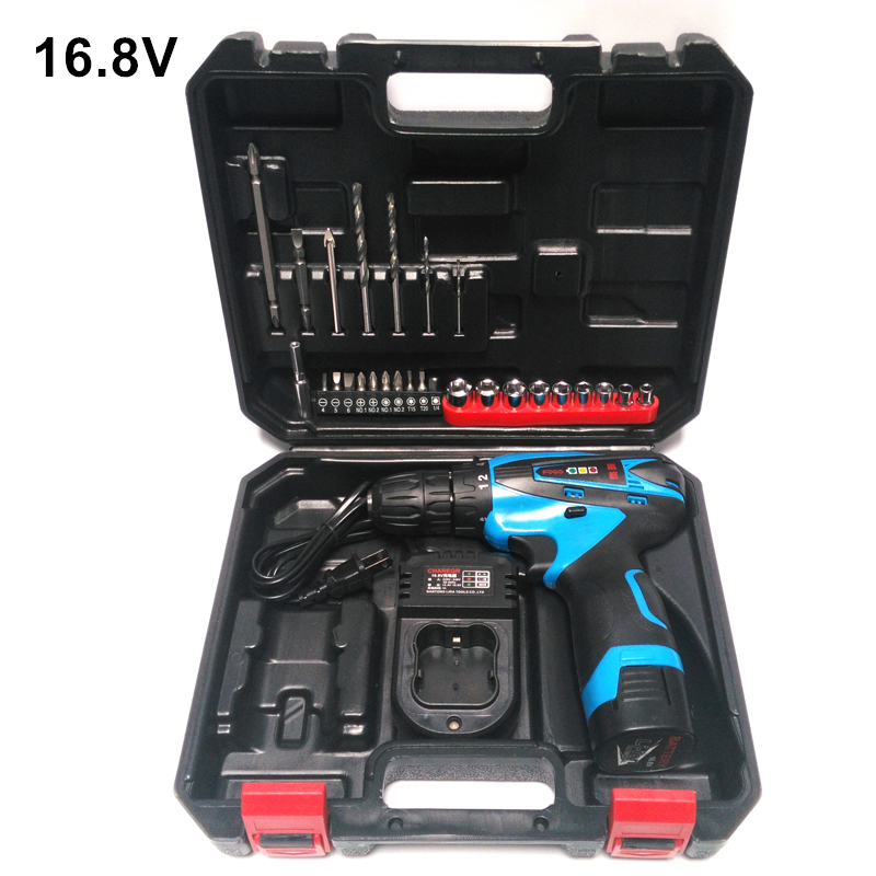 16.8V Electric Drill Cordless Screwdriver Rechargeable Parafusadeira Furadeira Battery Electric Screwdriver Plastic case(China (Mainland))
