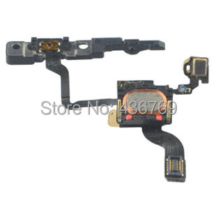20pcs/lot Power on/off button flex cable for iphone4 4 4g light proximity sensor with mic microphone free shipping