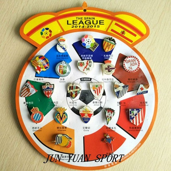 Hot,21pcs/set Soccer Metal Pin Badges Brooches for Spain League English Premier League Football Clubs Teams Soccer Fans Souvenir(China (Mainland))