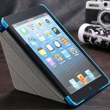 Leather Flip Case For Apple iPad Mini Tablets Accessories 8 Folders Sleep Wake Stand Protective Sleve Cover For ipad Mini 1 2 3(China (Mainland))