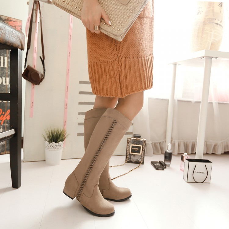 Free shipping women's biker boots fashion knit scrub set foot and knee-high boots custom-size 30-49HR01272(China (Mainland))