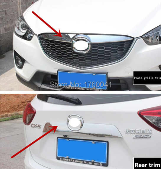 Car styling front grille cover trim strip ABS rear trunk decoration 3D stickers exterior accessories for Mazda CX-5(China (Mainland))